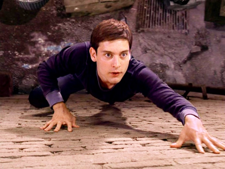 Image result for peter parker climbing wall